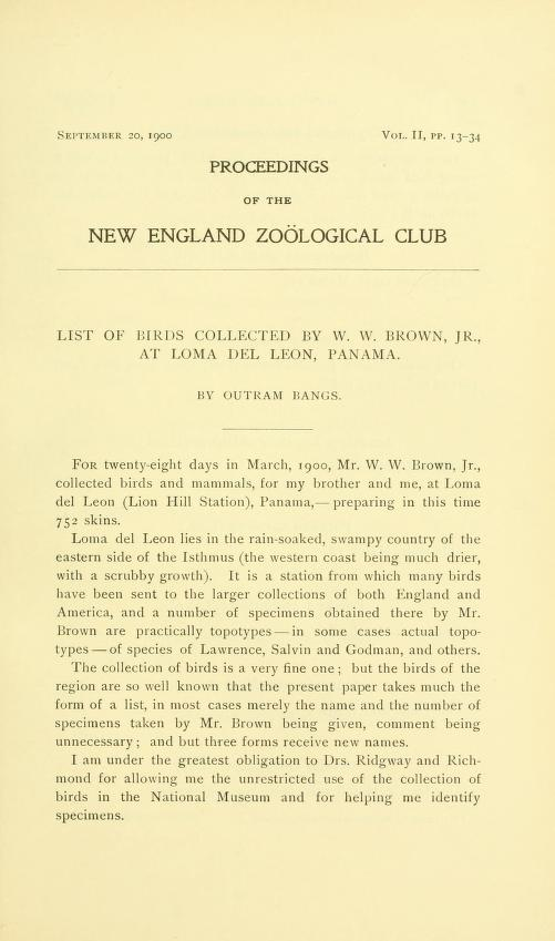 List of Birds Collected by W. W. Brown Jr. at Loma del Leon, Panama