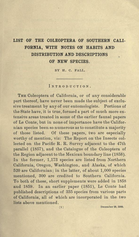 Fall (1901) Occ. Pap. Calif. Acad. Sci. 8: 1-282