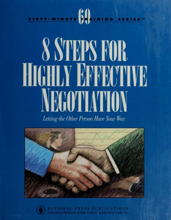 8 steps for highly effective negotiation by Ginny Pearson Barnes